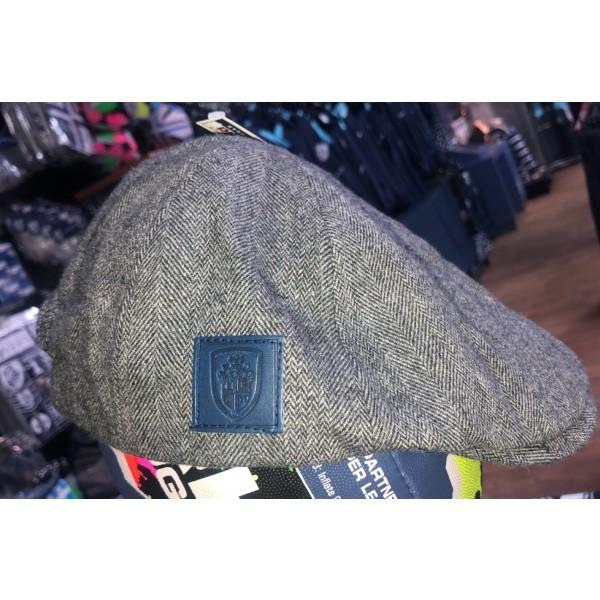NAVY CREST FLAT CAP